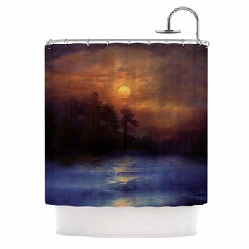 "Viviana Gonzalez ""Hope In The Blue Water"" Brown Orange Shower Curtain"