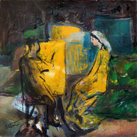 Modern wall art Giclee on canvas Print of original oil painting Fine artwork Atelier Studio Figurative LARGE Yellow blue green High quality