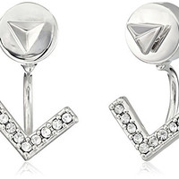 Vince Camuto Pyramid Front Back Rhodium Stud Earrings