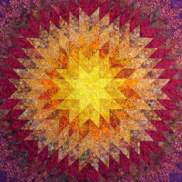 Handcrafted Starburst Batik Quilt Couch Throw Table Topper Bed Topper Wall Hanging