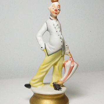 Davar Hand Painted Tall Skinny Pot Belly Clown with Umbrella Bisque Porcelain Ceramic Vintage Circus Creepy White Elephant Gag Gift Geek
