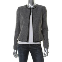 Anne Klein Womens Textured Long Sleeves Blazer
