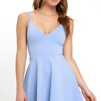 Meet Cute Light Blue Skater Dress