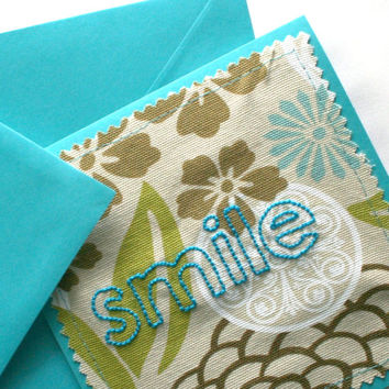hand embroidered card - smile (blue flowers) - greeting card, note card, fabric card, any occasion card, congratulations card