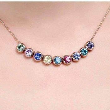 Spectrum Multi-Color Bezel Set Austrian Crystal Slide Necklace