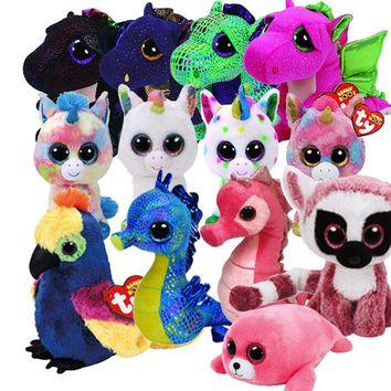 "Ty Beanie Boos 6"" 15cm Saffire the Dragon Bat Dangler Cow Dog Plush Regular Soft Big-eyed Stuffed Animal toys for children"