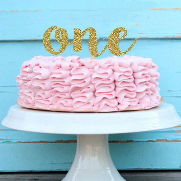 One Year Old Cake Topper - One Cake Topper - Glitter One Topper - First Birthday Cake Topper - One Year Old - Glitter Topper