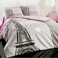 100%COTTON 3pcs I LOVE PARIS SINGLE TWIN QUILT DUVET COVER BEDDING SET LINENS