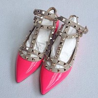 Christian Louboutin Fashion Edgy Pointed Rivets Flats Shoes