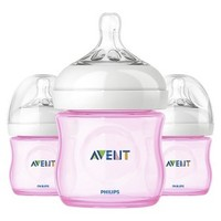 Philips Avent BPA Free Natural 4 Ounce Polypropylene Bottles, Pink, 3-Pack