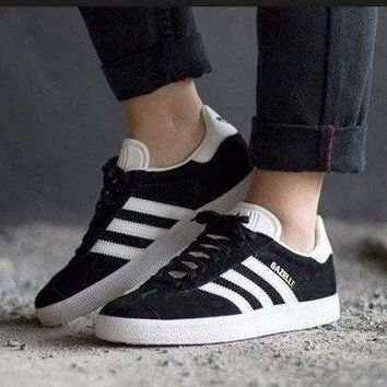 LMFUX5 Best Online Adidas Originals Wmns Gazelle Black / White / Gold Metallic Sneakers Classic Casual Shoes - BB5476-1