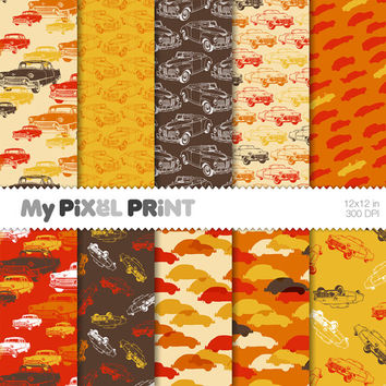 Cars - Red Orange Yellow Brown - Travel - Digital Scrapbooking Paper Pack - My Pixel Print