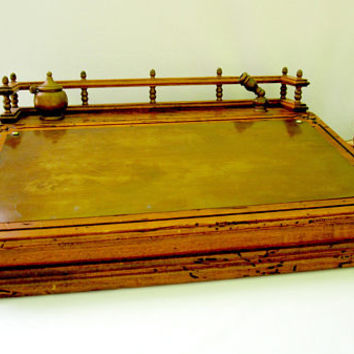 Travel Portable Writing Desk Worm Wood Texture Style Table Vintage Platform Ink Well