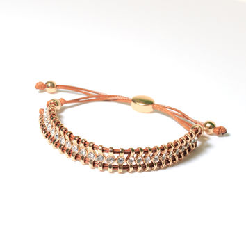 Boho Crystal  Bracelet - Tan Leather