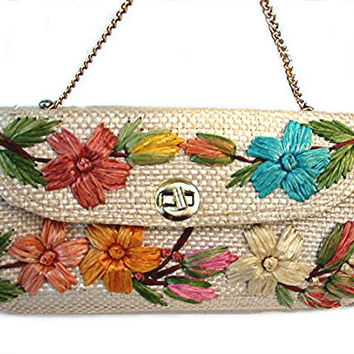 Vintage 1960s 1970s Straw Handbag TIKI VLV PURSE with Raffia Flowers List