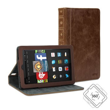 Book Case Vintage 360 for Amazon Fire HD 7