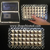 Studded Clutch Wallet - Black & White Tribal Print - Jumbo Silver Studs