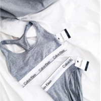 "Hot sale""Calvin Klein"" Tank Top Shorts Underwear Lingerie Set Bikini Swimwear Grey"