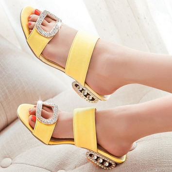 Women Sandals  Ladies Summer Slippers Shoes Women Low Heels Sandals Large Size 9 10 Fashion Orange Rhinestone Shoes Yellow