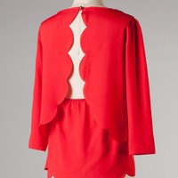 Scallop Open Back Top - Red