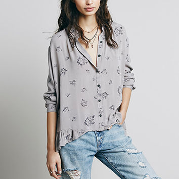 Grey Floral Print Button Front Long Sleeve Blouse