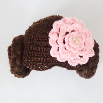 Princess Leia Style Crocheted Baby Hat From Star Wars For Girl Newborn to Adult Photo Prop Baby With Big Flower