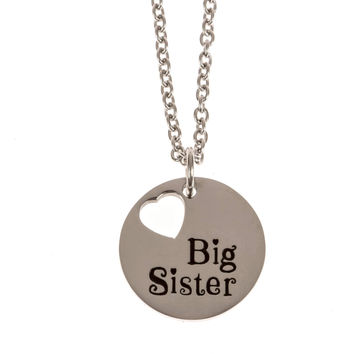 """Stainless Steel Charm Necklace Big Sister 1"""" diameter (25mm)"""