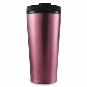 Stainless Steel Pink Engraveable 16 Oz Travel Tumbler