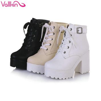 VALLKIN New Women Rain Boots Fashion Winter Snow Platform Women's Ankle Boots Motorcyc