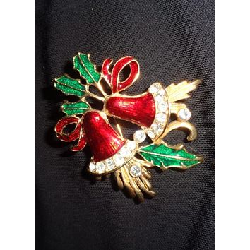 Gold Christmas Bell And Rhinestone Brooch