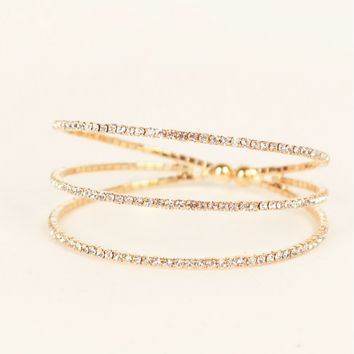 Rows Of 3 Crystal Bracelet Gold