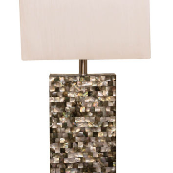 "Bombay™ Rectangular Seashell Mosaic 24"" Table Lamp"