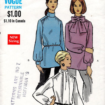 Vogue 7644 Sewing Pattern High Neck Blouse Long Sleeve Women's Top Scarf Tie Collar Business Shirt Bust 34