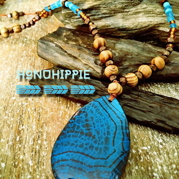 Bohemian Mala Hippie necklace, dragon cein agate pendant
