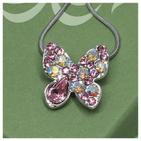Beautiful Eye Catching Crystal Accented Butterfly Pendant Necklace