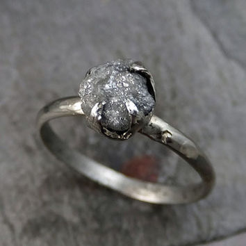 Raw Rough UnCut Diamond Engagement Ring Rough Diamond Solitaire 14k white gold Conflict Free Diamond Wedding Promise
