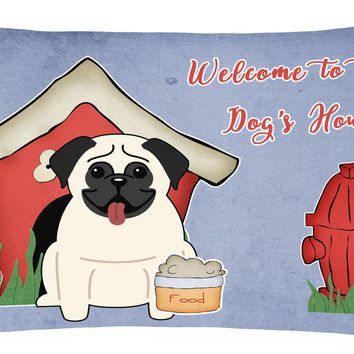 Dog House Collection Pug Cream Canvas Fabric Decorative Pillow BB2758PW1216
