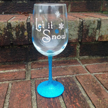Let it Snow wine glasses