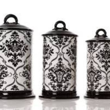 Drake Design Ceramic Canister Set, 10/11 and 12-Inch, Set of 3