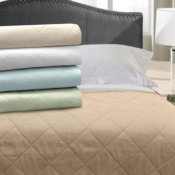 Veratex Home Indoor Bedroom Supreme Stn 300Tc Blanket Coverlet Full/Queen Ivory