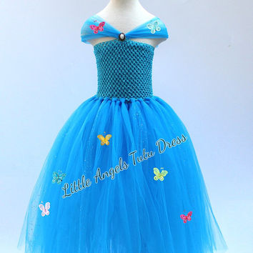 Cinderella Dress, Cinderella Tulle Tutu Dress, Fancy Dress Costume, Birthday Party Dress, Disney Cinderella Movie 2015, FULLY LINED TOP