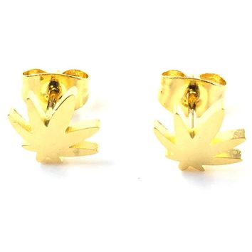 Hot 12Pairs Stylish 9mm gold leaf-shaped stainless steel stud earrings, fashion earrings