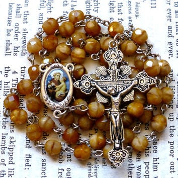 St. Anthony Rosary - Saint Rosary, Catholic, Faceted Light Brown Czech Glass Beads