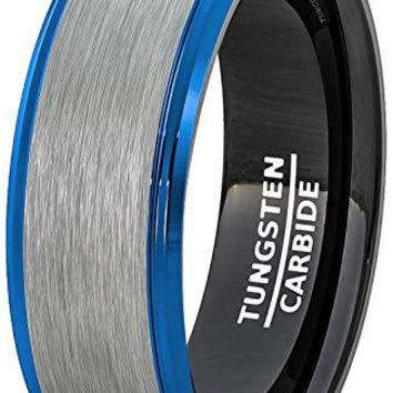 Men's Tungsten Wedding Band White Brushed Surface With Blue Step Edge and Black inside - 8mm