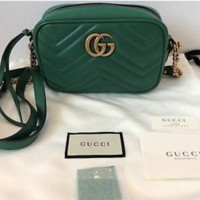 Gucci GG Marmont matelassé quilted Camera mini leather shoulder bag_Green
