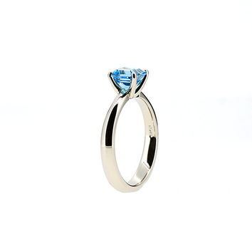 Emerald cut swiss blue topaz solitaire ring, white gold, unique engagement, blue topaz ring, square gemstone, blue wedding ring,  custom