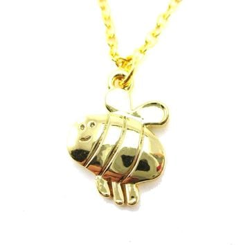 Cartoon Bumble Bee Shaped Pendant Necklace in Gold | DOTOLY