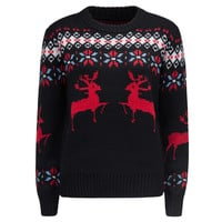 Black Reindeer And Snowflake Patterned Holiday Sweater