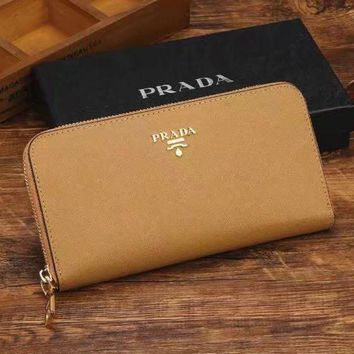 PRADA Women Fashion Zipper Purse Wallet