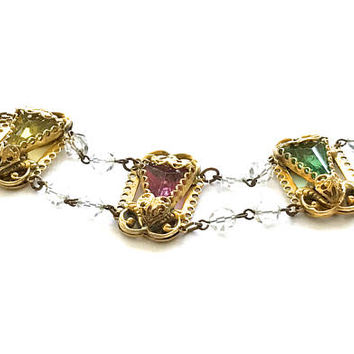 Art Nouveau Link Bracelet, Multi Color, Gold Plated, Filigree, Open Work Design, Czech Glass, Green,Pink, Citrine, Crystal Bead